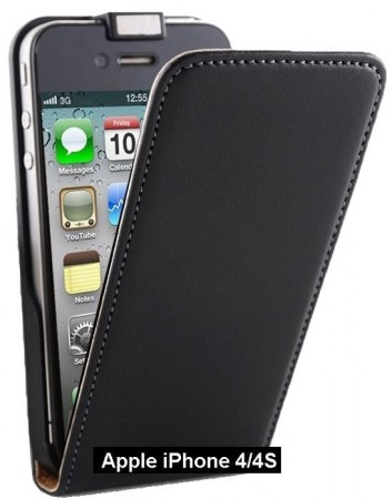 Vertical Flip Cow Leather Case for Apple iPhone 4/4S