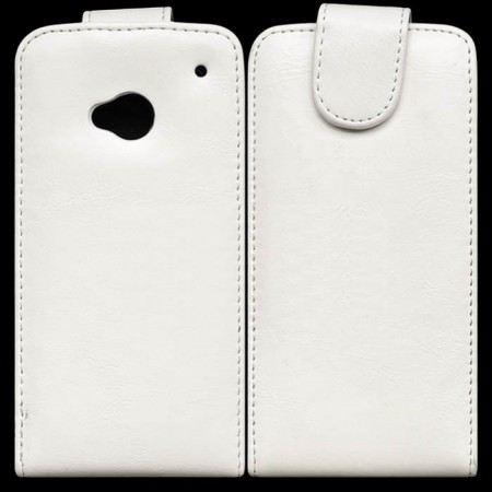Flip PU Leather Case for HTC One (M7), White