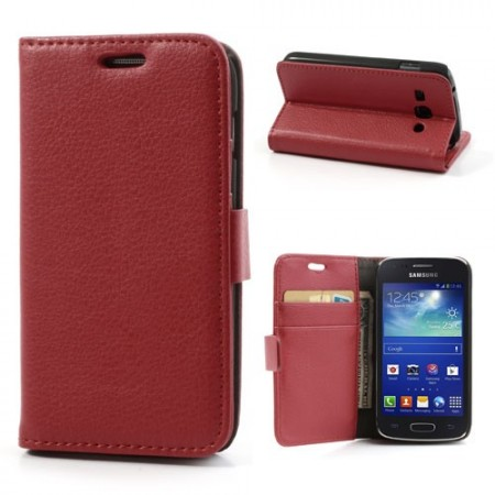 Booklet Flip PU Leather Case for Samsung Galaxy Ace 3, Red