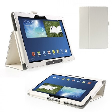 Booklet PU Leather Case Samsung Galaxy Note 10.1 (2014 edition),White