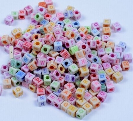Loom-Bands Plastic Beads, *Letters*, marble