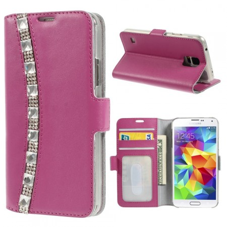 Doormoon Leather Case Samsung Galaxy S5, *Rhinestones*, Rose
