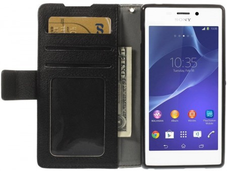 Booklet ID Flip PU Leather Case for Sony Xperia™ Z3 (D6603), Black