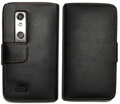Booklet Flip PU Leather Case for LG P920 (Optimus 3D), Black