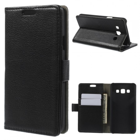 Wallet PU Leather Case for Samsung Galaxy A3, Black