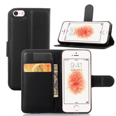 Wallet PU Leather Case for Apple iPhone SE, Black