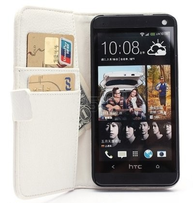 Wallet PU Leather Case for HTC One (M7), White