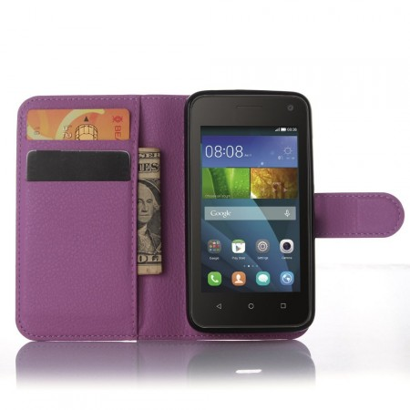 Wallet PU Leather Case for Huawei Y360, Purple