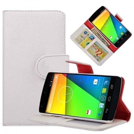 Booklet Flip PU Leather Case for LG Nexus 5 (E980), White