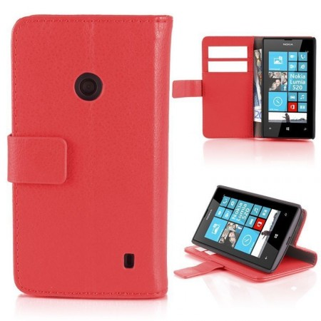 Wallet PU Leather Case for Nokia Lumia 520, Red