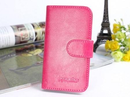 Acrolrs Booklet Leather Flip Case for Samsung Galaxy J1 (J100F), Rose
