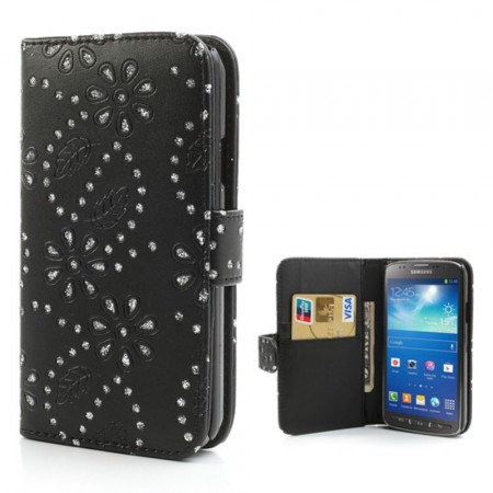 Booklet Flip PU Leather BLING-Case for Samsung Galaxy S4 Active (i9295), Black