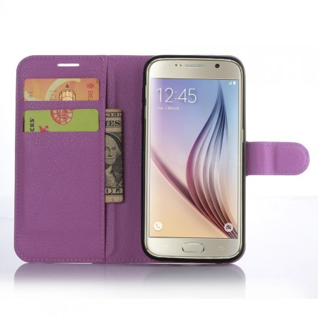 Wallet PU Leather Case for Samsung Galaxy S7, Purple