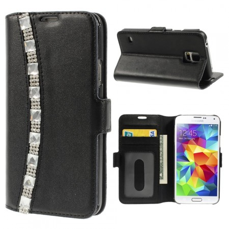 Doormoon Leather Case Samsung Galaxy S5, *Rhinestones*, Black