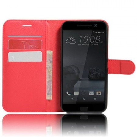 Wallet PU Leather Case for HTC 10, Red