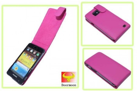 Doormoon Vertical Leather Flip Case Samsung Galaxy S II/S II Plus, Hot Pink