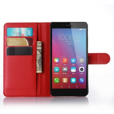 Wallet PU Leather Case for Huawei Honor 5X, Red