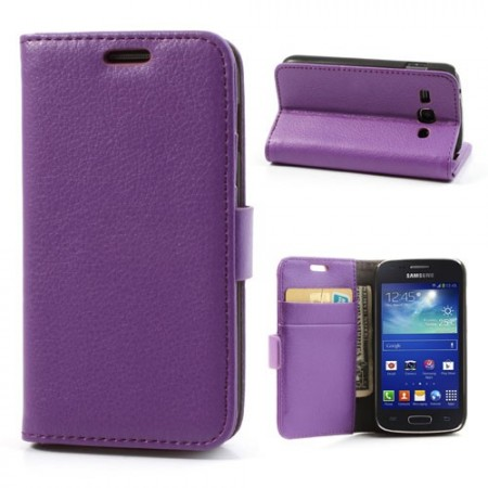 Booklet Flip PU Leather Case for Samsung Galaxy Ace 3, Purple
