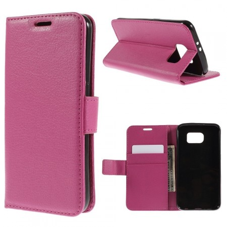 Wallet PU Leather Case for Samsung Galaxy S6 Flat, Rose