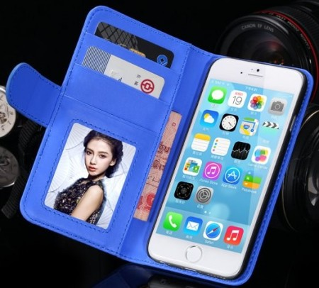 Booklet ID Flip PU Leather Case for Apple iPhone 6 (4,7¨), Blue
