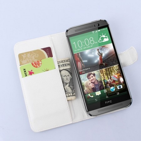 Wallet PU Leather Case for HTC One (M9),White
