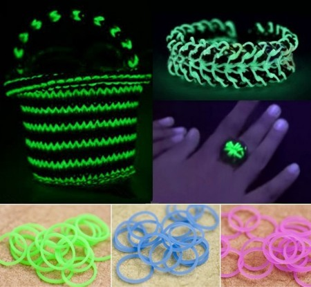 Loom-Bands *Glow-In-The-Dark* med låser