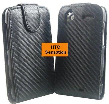 Flip PU Leather Case for HTC Sensation, *Carbon*
