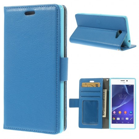 Booklet Flip PU Leather Case for Sony Xperia™ M2 (D2403), Blue