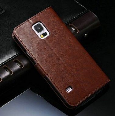 Wallet Leather Case for Samsung Galaxy S5 (G900), Mocca