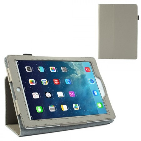 Booklet Flip PU Leather Case for Apple iPad Air, *Litchi*,Grey