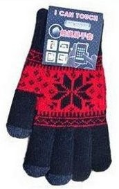 Smart Touch Gloves with *Snowflake*, Black/Red