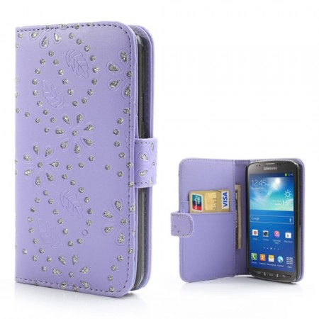 Booklet Flip PU Leather BLING-Case for Samsung Galaxy S4 Active (i9295), Purple