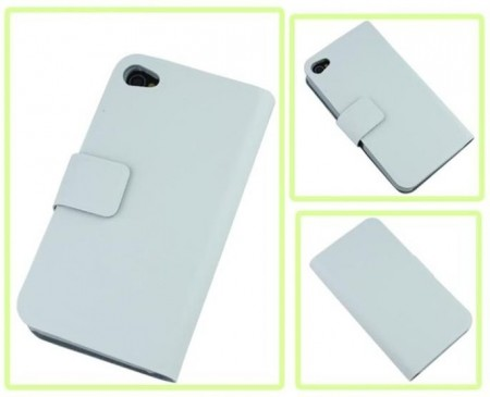 Doormoon Booklet Leather Flip Case Apple iPhone 4-S, White
