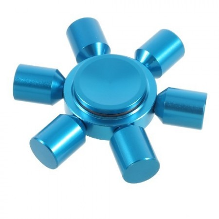 EDC Six Arm Hexagon Metal Fidget Spinner, Blue