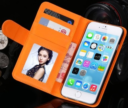 Booklet ID Flip PU Leather Case for Apple iPhone 6 (4,7¨), Orange