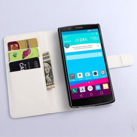 Wallet PU Leather Case for LG G4 (H815), White