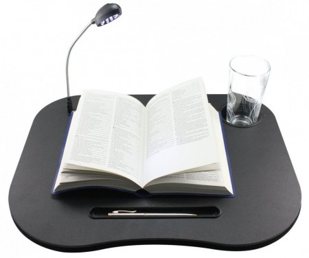 Laptop putebord med glass/koppholder og LED-lys, 44x34cm., Black