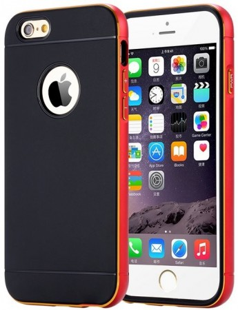 Ultra Slim Dual Layer Metal Brush Back Case For Apple iPhone 6 plus (5.5´´), Red