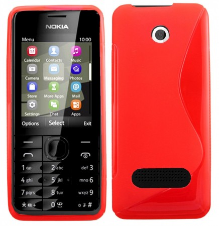 Flexi Shield Skin Nokia 301, *S-line*,Red