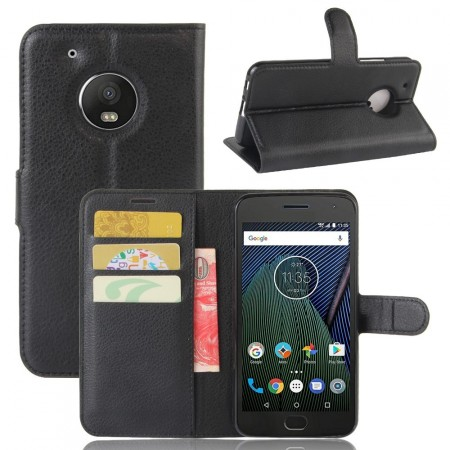 Wallet PU Leather Case for Motorola Moto G5, Black