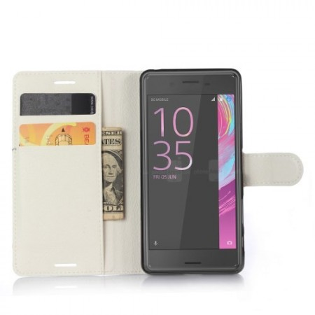 Wallet PU Leather Case for Sony Xperia™ X, White
