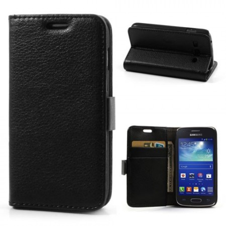 Booklet Flip PU Leather Case for Samsung Galaxy Ace 3, Black
