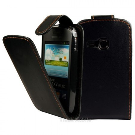 Flip PU Leather Case for Samsung Galaxy Young 2, Black