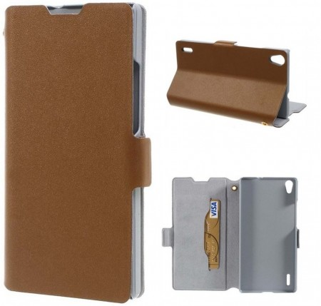 Doormoon Booklet Leather Flip Case for Huawei Ascend P7,Mocca
