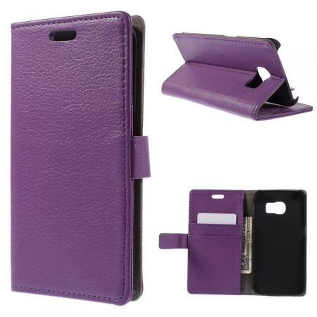 Wallet PU Leather Case for Samsung Galaxy S6 Edge, Purple