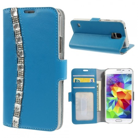 Doormoon Leather Case Samsung Galaxy S5, *Rhinestones*, Blue