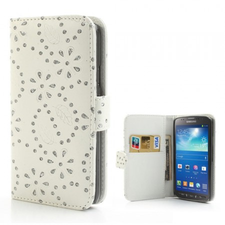 Booklet Flip PU Leather BLING-Case for Samsung Galaxy S4 Active (i9295), White