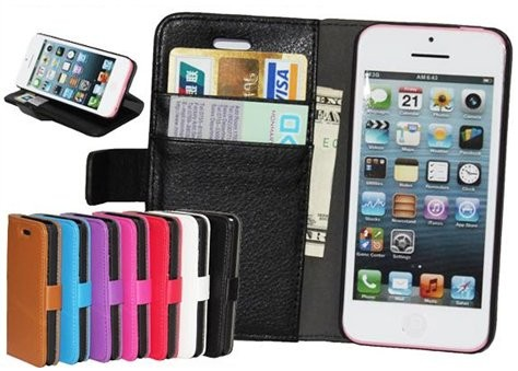 Booklet Flip PU Leather Case for Apple iPhone 5c, *Litchi*